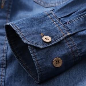 Image 4 - Envmenst Brand Clothing Denim Shirts Men Casual Long Sleeve Tops Fashion Slim Camisa Jeans mMale Blouses 4XL US European Style