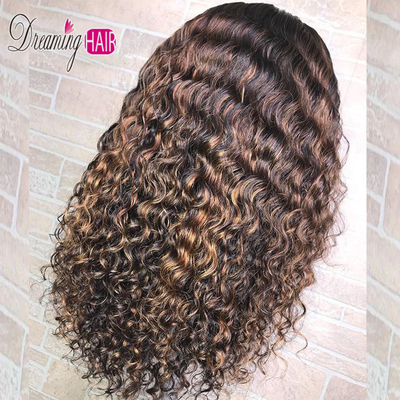 13x6 Ombre Color Curly Lace Front Human Hair Wigs With Baby Hair Brazilian Remy Hair Lace Wig For Black Woman Full Ends