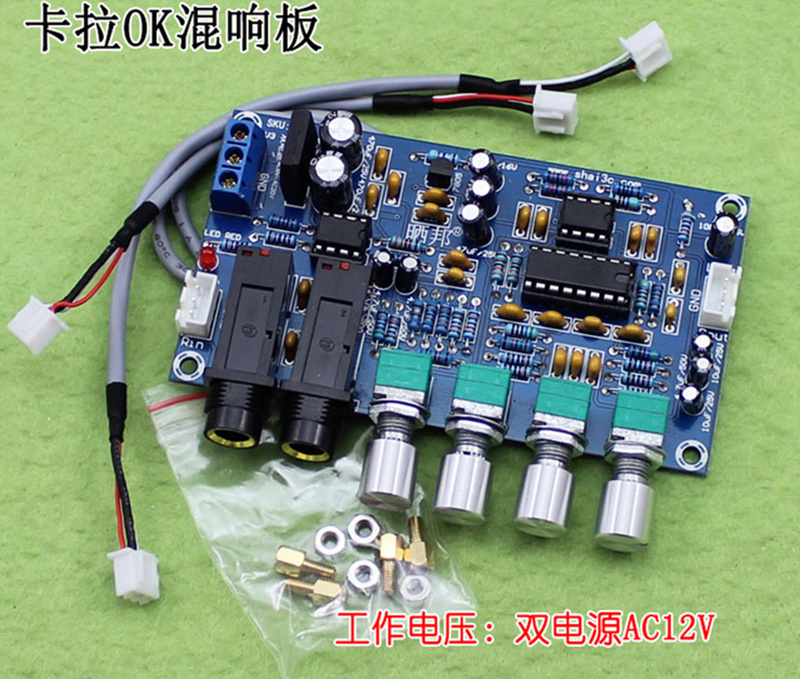 XNWY Dual Power AC12V Kara OK Reverb Plate Reverb Microphone Amplifier Board K Song Equipment (H5A5)