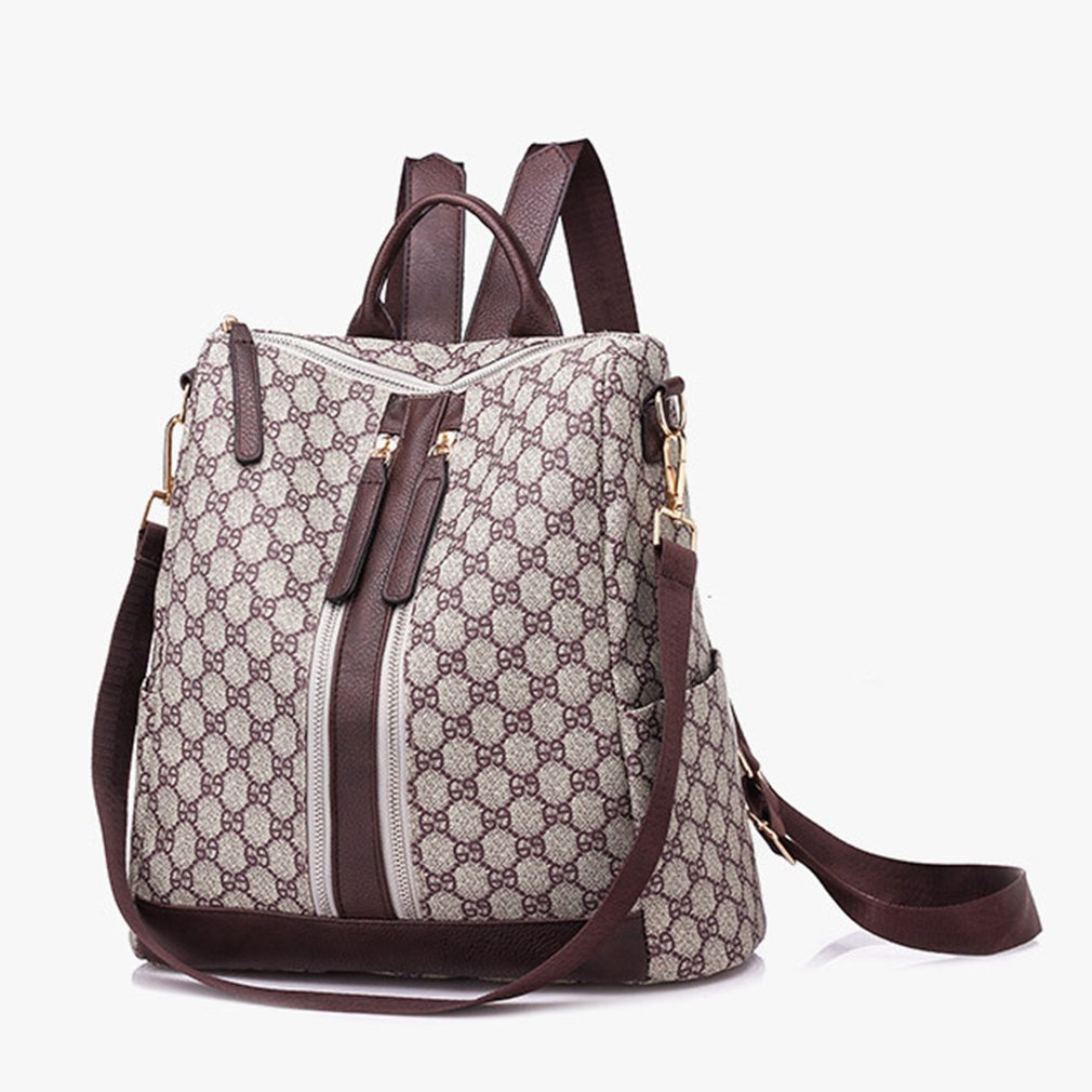 Vintage Women Lattice Plaid Pu Leather Backpack Famous Brand Design Female Ladies School Bag For Woman