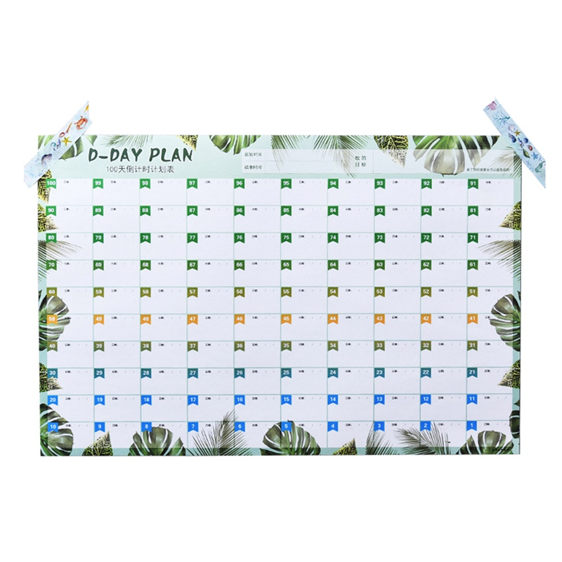100 Days Countdown Calendar Papeleria Learning Schedule Periodic Planner Table Agenda OrganizerFor Kids Study  Plan Supply plan