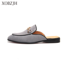 XOBZJH 2019 New Men Shoes Handmade Leisure Style Man Summer Party Shoes Men Flats Leather Loafers Shoes Gray Size Shoes