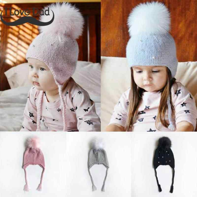 a7eac74337d Winter Spring Baby Hat Cute Pompom Knit Baby Girl Hat Kids Beanie Warm  Knitted Hats Cap