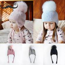 Baby Winter Hat Fur Pompom Caps bonnet enfant Toddler Boys Girls Knitted Cap Cotton Protect The Ears Hats Warm Kids Beanie-in Hats & Caps from Mother & Kids on Aliexpress.com | Alibaba Group
