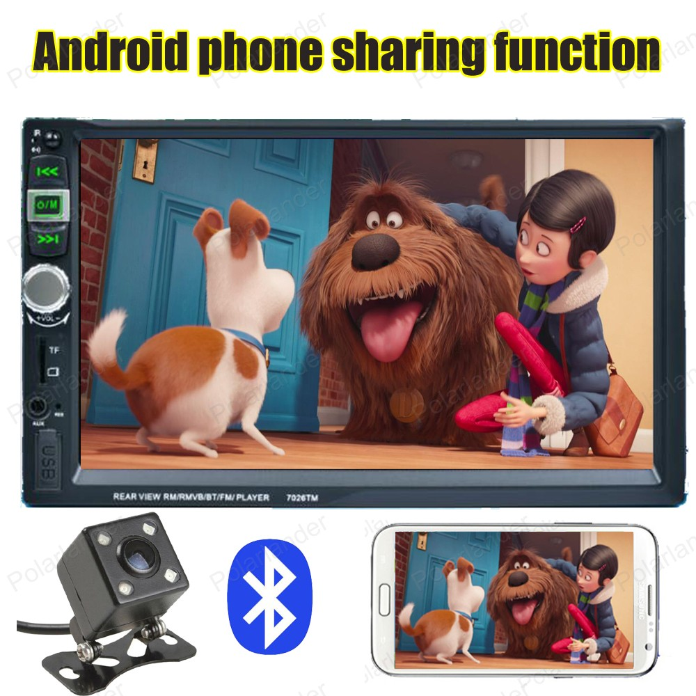 android phone screen mirroring 7 inch 2 din Bluetooth car radio steering wheel control with rear