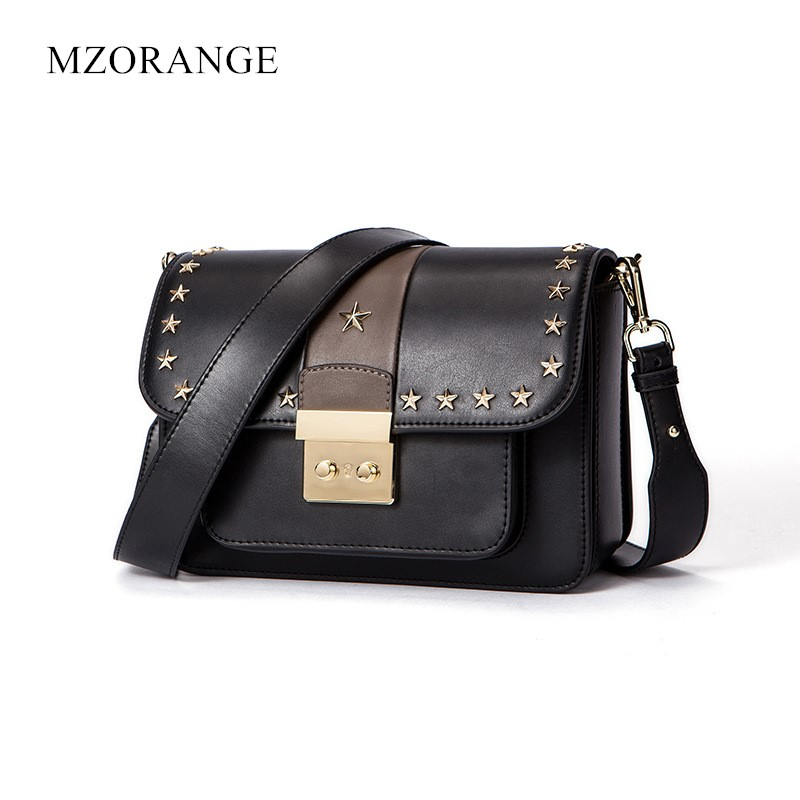New Small Brand Genuine Leather Flap Bags Women Shoulder  unusual Star Rivet Design HandBags Lady Crossbody Bag Messenger Bags сумка rebecca minkoff hf34ilvx07 001