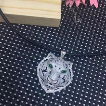 Cool Punk Hollow 925 Sterling Silver Animal Tiger Collar Necklace Black Rope Chain Leopard Necklace Men Women Wedding Jewelry(China)