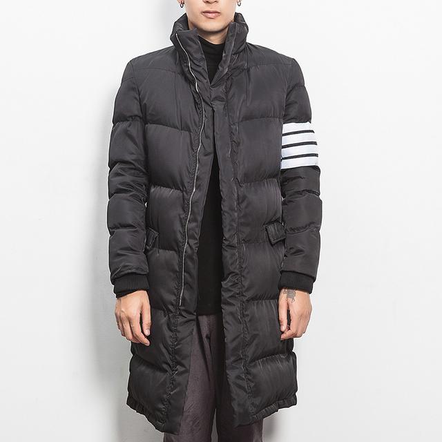 2016 moda inverno patchwork tarja camisa de algodão-acolchoado jacket men slim fit espessamento parka hombre homens do revestimento para baixo