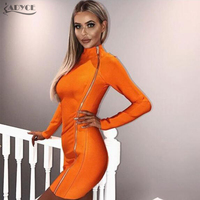 Adyce 2017 Chic Summer Bandage Dress Fashion Orange Turtleneck Side Zipper Long Sleeve Mini Party Dress