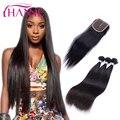3 Bundles Straight Virgin Brazilian Hair With Closure Natural Black Swiss Lace Closure 7A Brazilian Straight Human Hair Weave