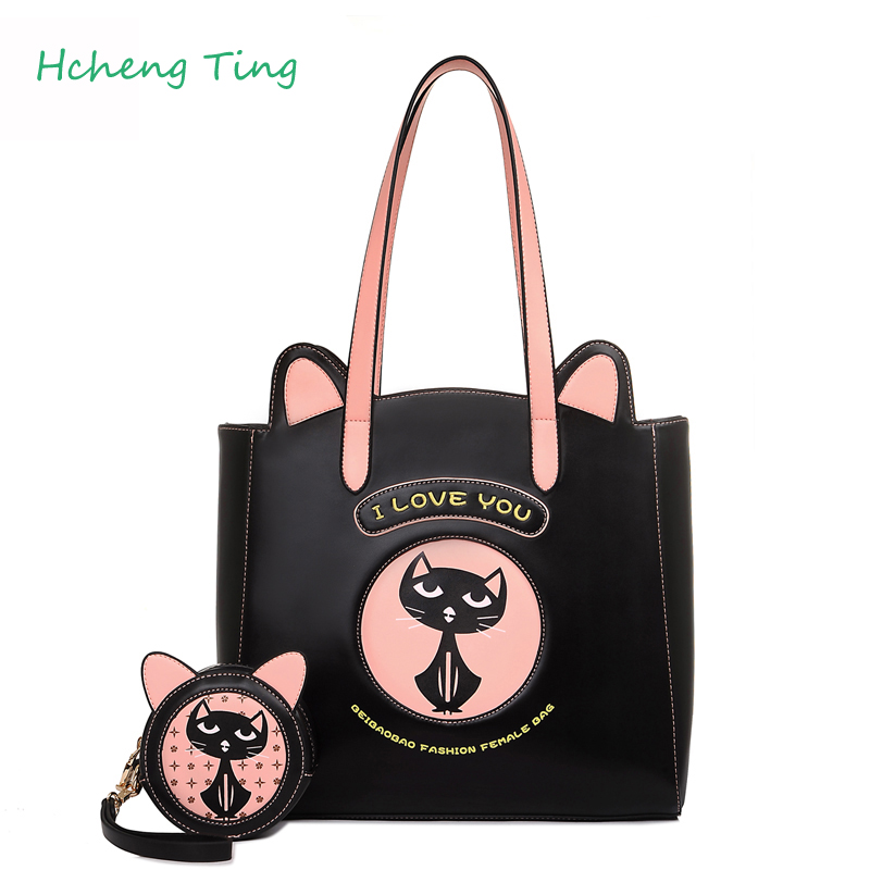 Women s font b Handbags b font Cartoon Cat Design Famous Brands Leather High Capacity High