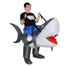 JYZCOS Purim Halloween Inflatable Shark Costume Carnival Cosplay Party Animal Women Men Adult Fan Operated