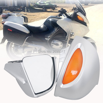 Fits For BMW Side Rear mirrors Rearview W/ Amber Lens R1100RT R1150RT R1100 RT R1150 RT Silver New image