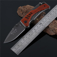 2016 New BUCK X61 Survival Pocket Knife steel + wood Tactical Folding Knife Hunting Knife Outdoors Camping EDC Tools width 27mm