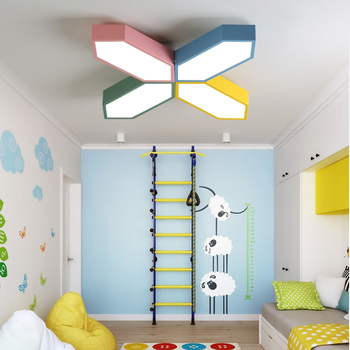 DX Modern Led Ceiling Lights Creative Color Luminaire Kids Room Toy Brick Butterfly Fixture Remote Control Lamp Dimmable Lustre