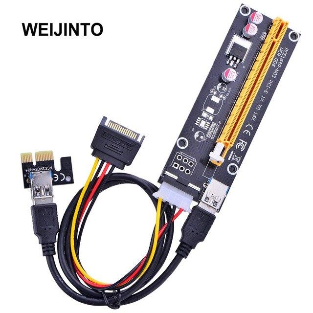 6pcs 60cm PCI-E extender PCI Express Riser Card 1x to 16x USB 3.0 SATA 4Pin Sata Power Cable PCIE Riser Cards Version 006