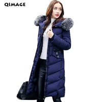 QIMAGE 2017 Winter Parkas Slim Women Long Large Fur Collar Jackets Coat Female Thick Warm Cotton