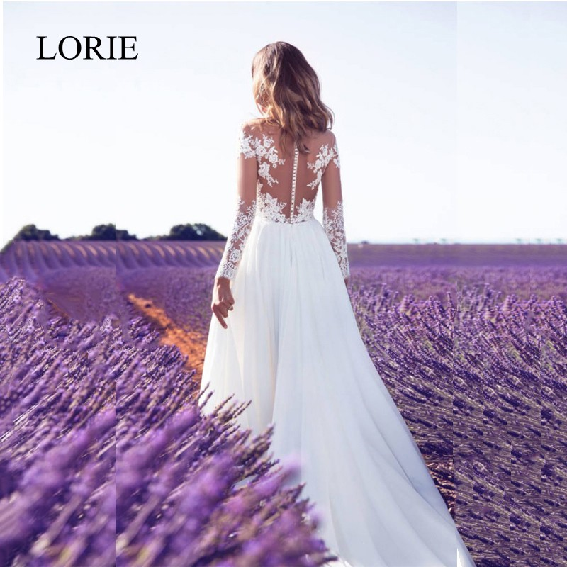 White Long Sleeve Wedding Dresses 2018 LORIE Lace Appliques Elegant Women Chiffon Boho Bridal Dress High Side Split Robe Mariage