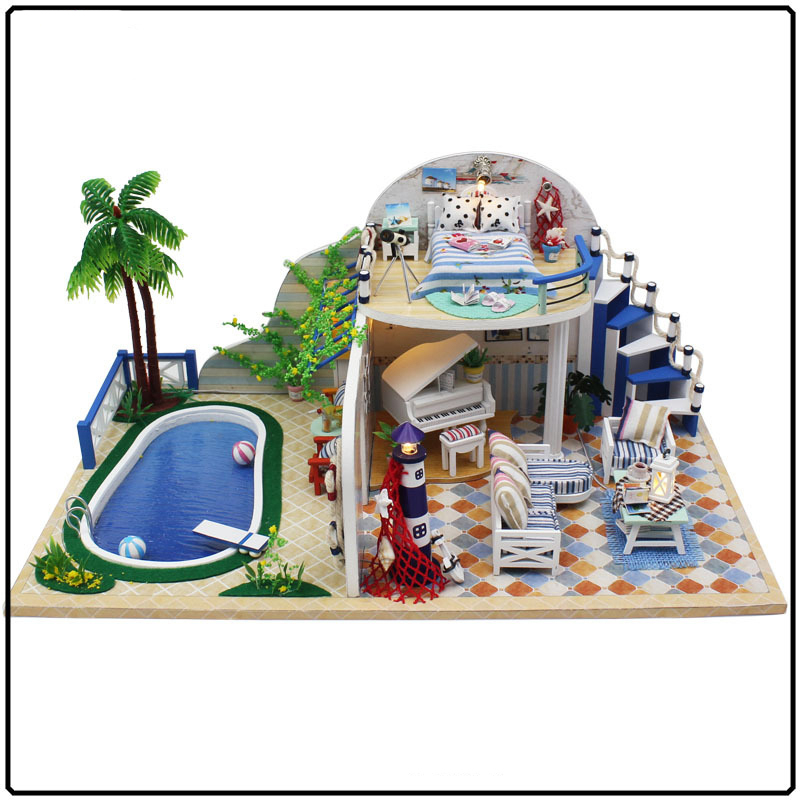 Vacation Villa Wooden Dollhouse Simulation DIY Model Doll House Dolls  Furniture Kits Handmade Craft Gifts