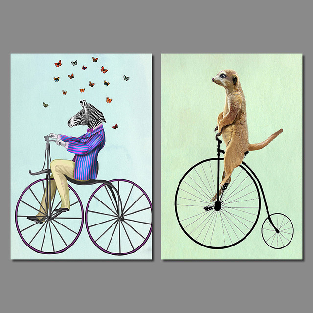 Cute Cartoon Animal Butterfly Decoration Suit Zebra Bicycle Wall Art  Picture Canvas Painting For Living Room