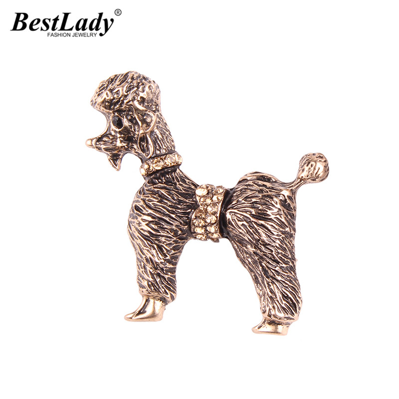 Best lady New Special Design Vintage Color Rhinestone Cute Dog Brooch Pins Women Fashion Statement Jewelry Animal Scarf Brooch