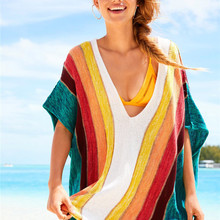 Summer Women's Clothing Pareo Tunic Beach Pareos For 2019 Cover Up Dress Wear Women Sexy Bathing Suits Vertical Stripes Knit Bat