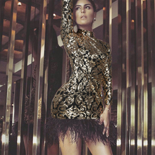 45a486b60b79a Buy gold sequin feather dress and get free shipping on AliExpress.com
