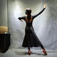 Classic Black Latin Dance Dress Women Sexy Backless Tango Rumba Salsa Dancing Practice Wear Ballroom Cha Cha Samba Outfit DC1401