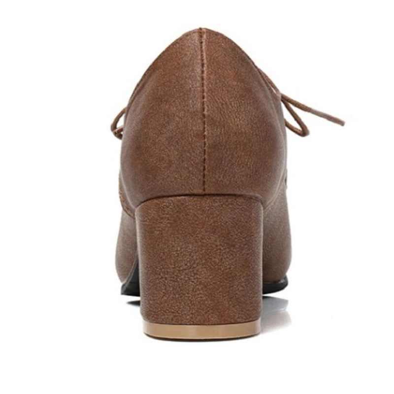 ABD 4.5-13 Brogue Bayan Oxfords Retro Orta Tıknaz Topuk Lace Up Pompaları Kadınlar Için Siyah Kare Yüksek Topuklu sivri Burun kanatlı ayakkabılar