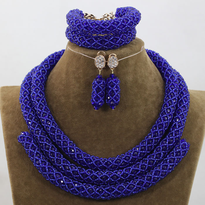 New Royal Blue Jewelry Sets  African Bead Jewelry Set for Women Vintage Party Jewelry Accessory Free shipping WE012New Royal Blue Jewelry Sets  African Bead Jewelry Set for Women Vintage Party Jewelry Accessory Free shipping WE012