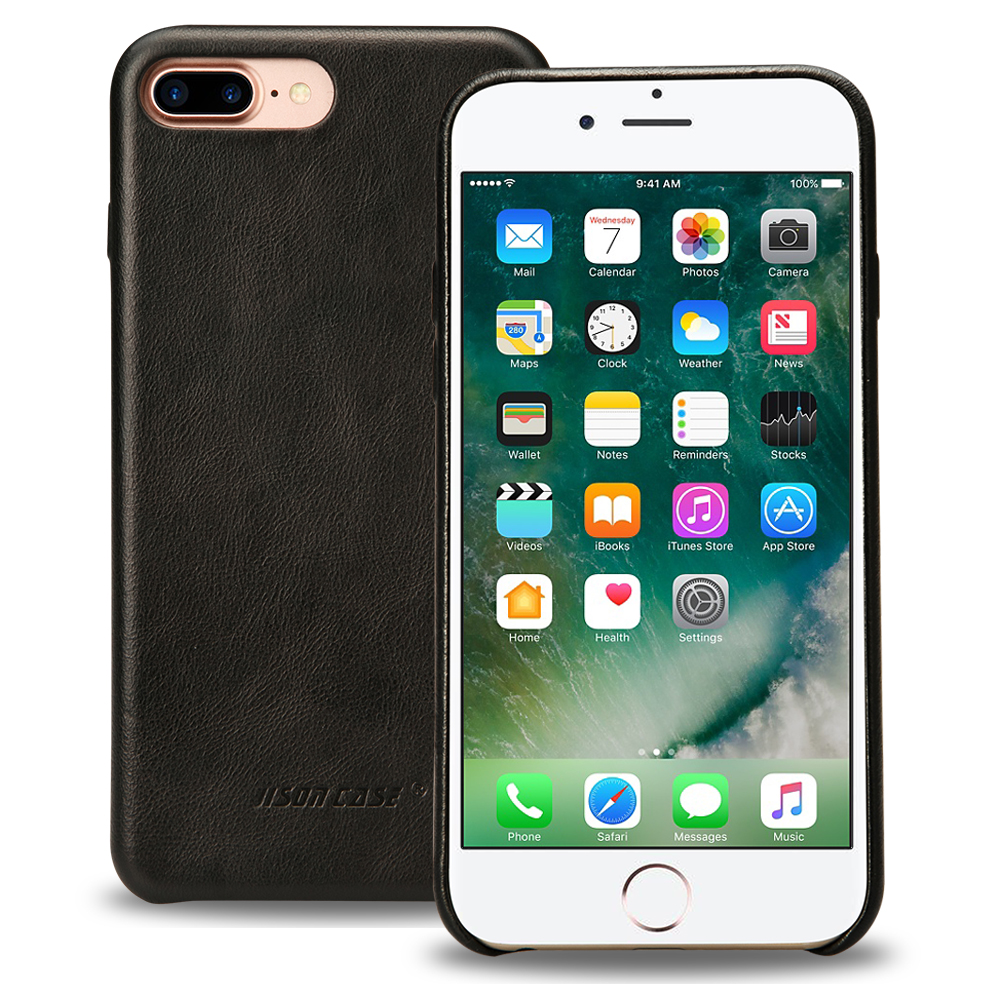 Jisoncase Genuine Leather Case for iPhone 7 Plus Luxury Cover Original Leather Phone Case Ultra Sim