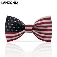 Lanzonia Fashion U.S. American Flag USA. Patterned Bow Tie For Men Stylish Neckwear Women Novelty Different Types Of Bowtie