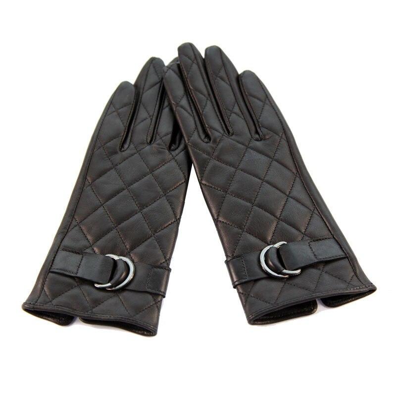 Genuine Leather Gloves Female Black Sheepskin Gloves Autumn Winter Plus Velvet Thicken Diamond Style Woman 39 s Gloves DQ103L in Women 39 s Gloves from Apparel Accessories
