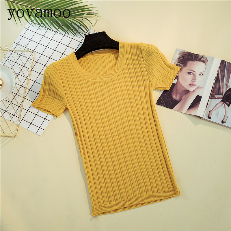 Yovamoo 2018 Summer Ice Silk Knitted O neck Short Design T shirt Women 39 s Sweater Tight fitting Short sleeved Bottoming Tops in T Shirts from Women 39 s Clothing