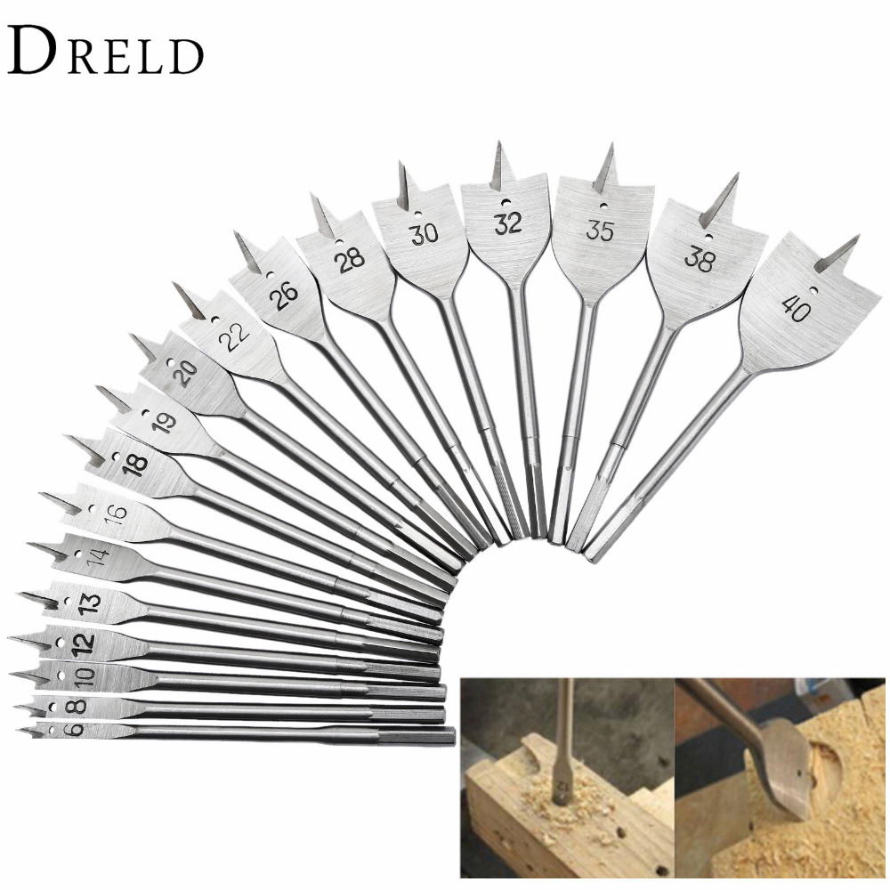 цена на 1Pc 6mm-40mm Woodworking Tools Titanium Coated Spade Flat Head Wood Boring Drill Bits Power Tools for Hand Drill Wood Drilling