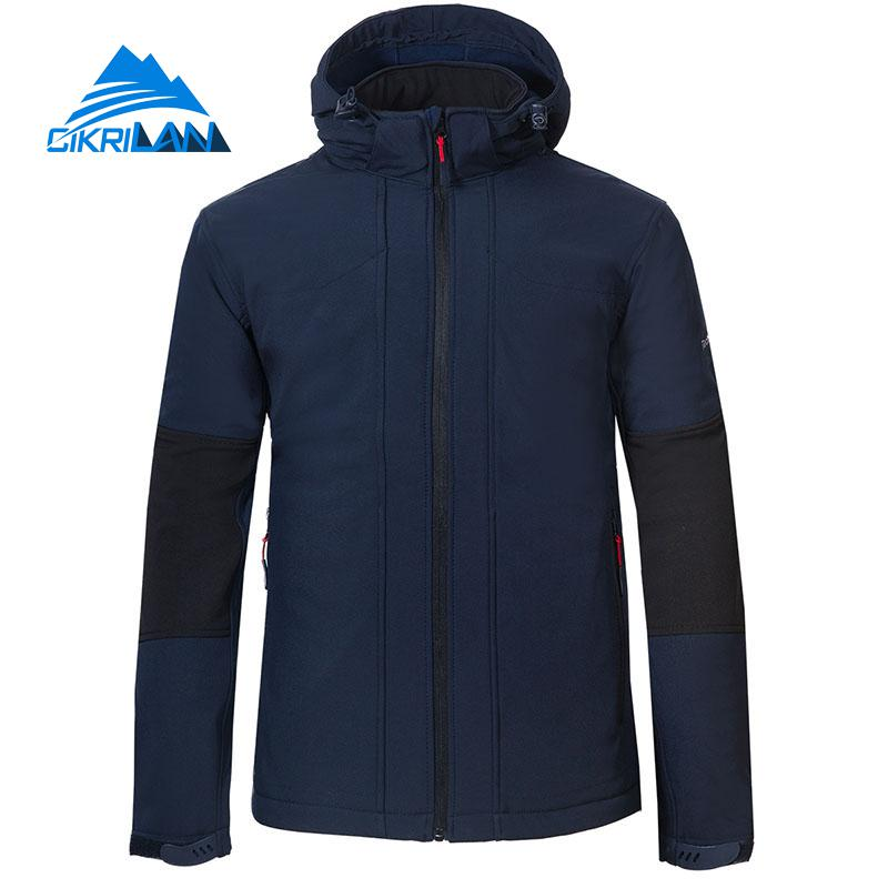 New Windbreaker Water Resistant Hooded Softshell Outdoor Jacket Men Hiking Camping Trekking Fleece Lined Coat Fishing Clothes