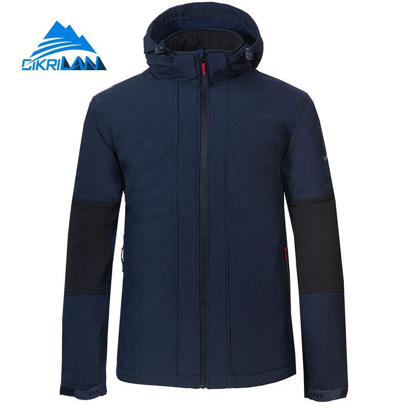 New Windbreaker Water Resistant Hooded Softshell Outdoor Jacket Men Hiking Camping Trekking Fleece Lined Coat Fishing Clothes