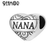 Reamor On Sale Fashion 5pcs 316l Stainless Steel Nana Heart Beads 5mm Hole Bead Charms For DIY Bracelets Necklace Jewelry Making(China)