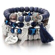 3-4 шт каменные бусины браслеты для женщин с кисточками браслеты и Набор браслетов Boho летние ювелирные изделия pulseras mujer moda