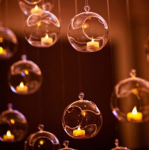 8pcs Glass Hanging Candle Holder Candlestick Home Wedding Party Dinner Decor round glass air plant bubble crystal