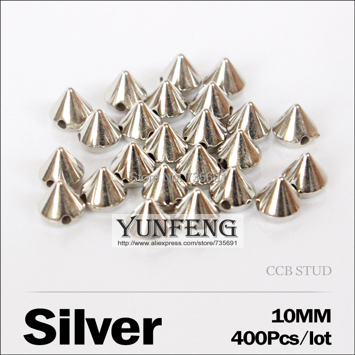 New Arrival Rushed Spikes Leather Spike 10mm 400pcs/lot Silver Stud Sew On Beads Ccb Plastic Rivets Use Clothes Shoes Bags