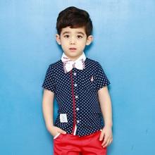 2016 mode beaux garçons vêtements enfants set enfants vêtements costumes manches courtes garçon Dot T shirt pantalons vêtements 2 T 3 T 4 T 5 T 6 T 7