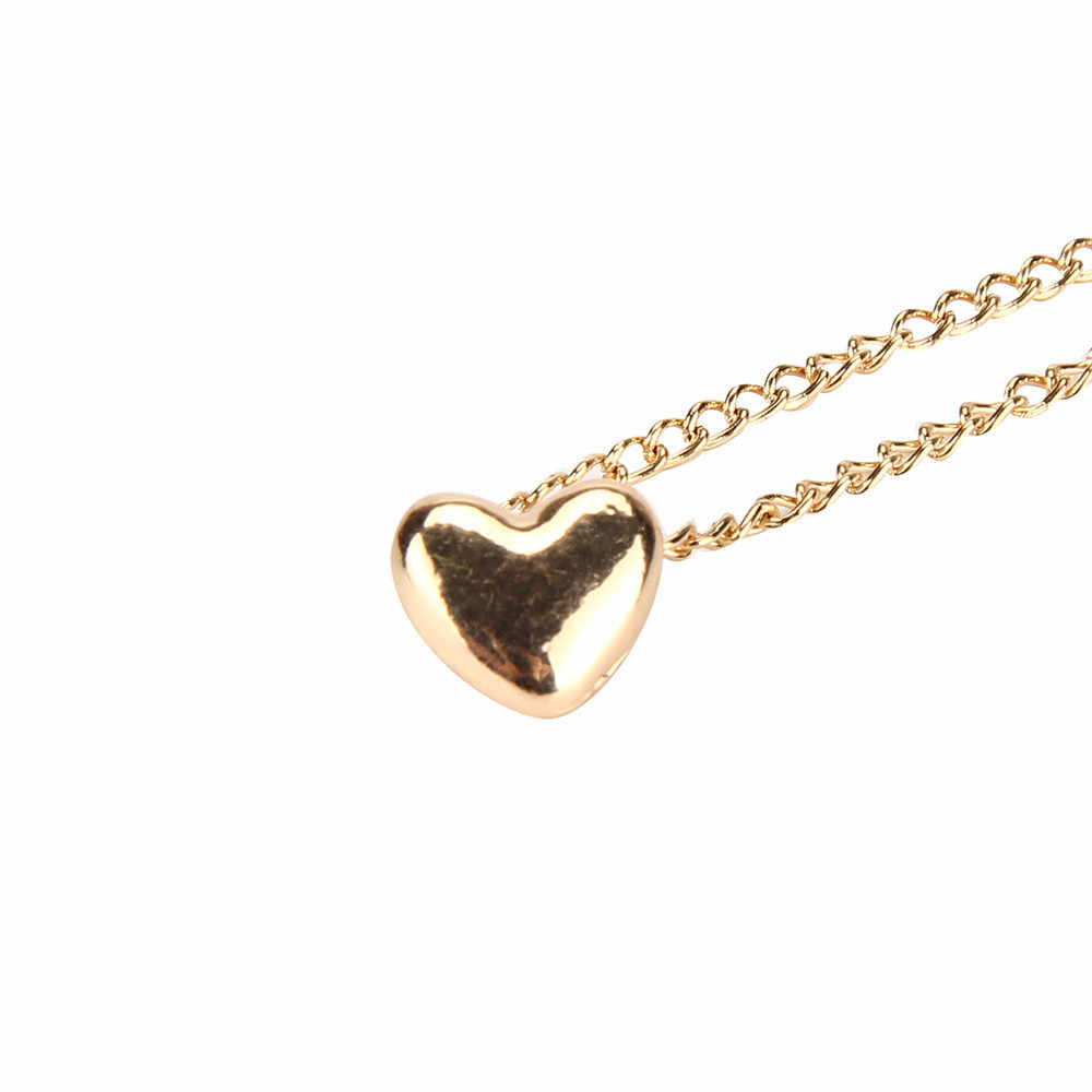 Gold Silver Color Chunky Chain Choker Necklace Heart Pendant 2018 Fashion Jewelry Necklaces for Women Chocker Collier Femme @3