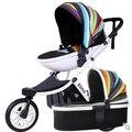 Frete grátis rainbow stripe forma de ovo carrinho de bebê alcofa folding two-way carrinho de bebê amortecedores de carro do bebê carrinho de criança triciclo