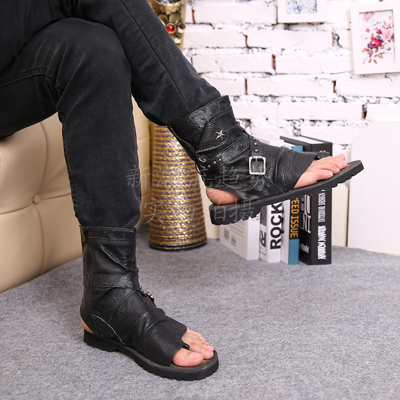 2016 vente chaude d'été plage chaussures hommes sandales noir en cuir véritable tongs Rome style homme cool haute sandales - 3