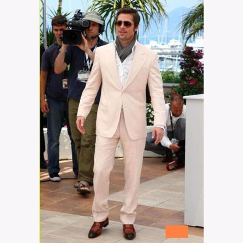 2019 Beige Men Suits Peaked Lapel 2 Piece Mens Tuxedos Custome Homme Wedding Suit Slim Fit Prom Costume Homme (Jacket+Pants)