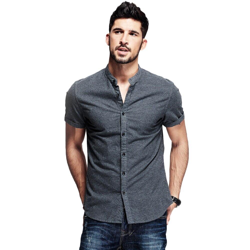 Summer Men's Solid Shirt Men's Casual Shirts Man's Cotton Short Sleeves Shirt Fashion Male's Collarless Tops New 2019 D40