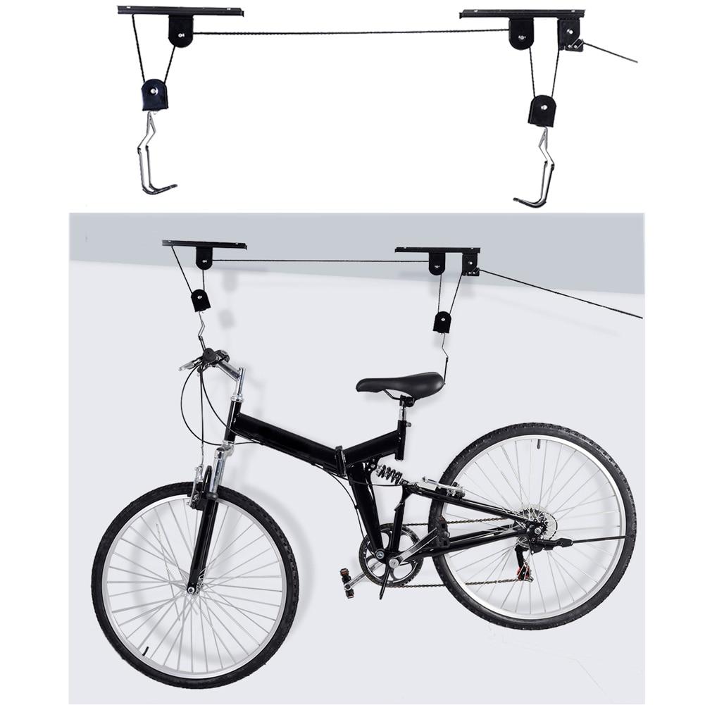 Cykel Cykelift Loftsmonteret talje Opbevaring Garage Hanger Remskive 45 LBS Kapacitet Holdbar Metal Sort Lift Assemblies