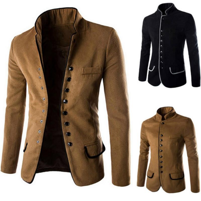 The Nice Men Winter Coat Collar Fashion Casual Suit Jacket Suits Men British Latest Coat Black Mens Suit Autumn Winter Blazers