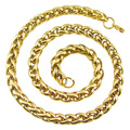 Fashion Punk Male Link Chain Necklace Gold Plated Stainless Steel Braided Snake Cuban Chain Necklace Jewelry For Men